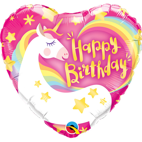 Birthday Magical Unicorn Heart (9 Inch)